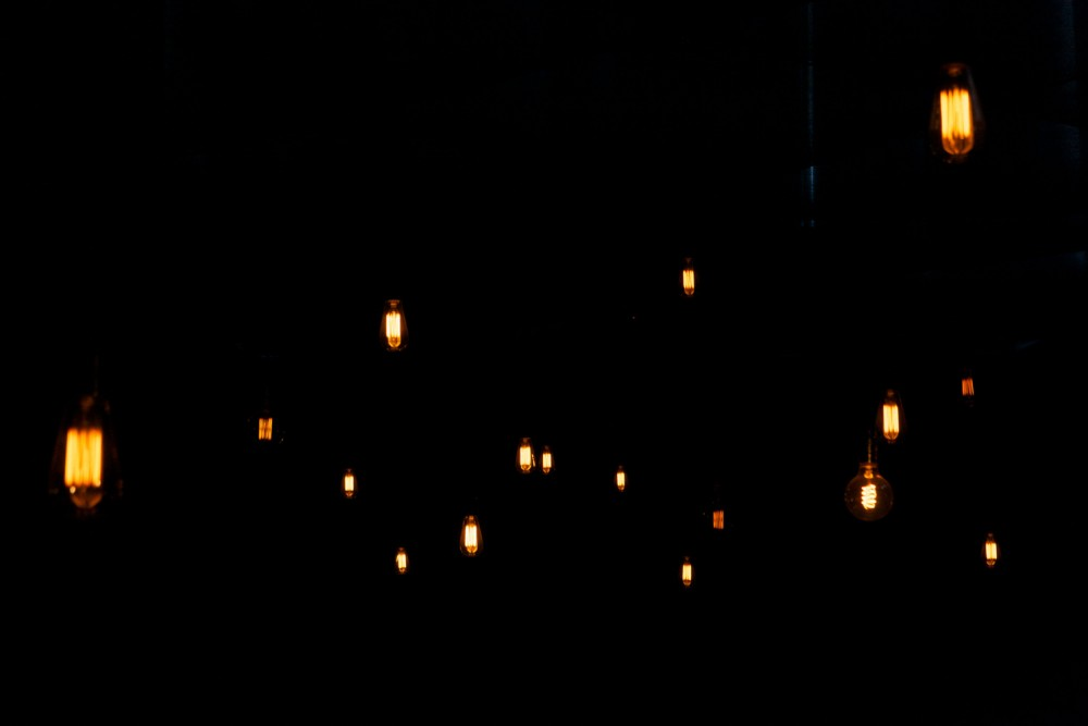 An image of hanging spiral light bulbs.