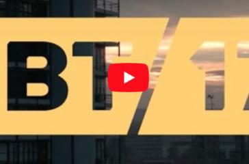 Yellow writing against dark background 'IBT17'