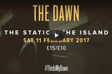 White writing against a dark background 'The Dawn'
