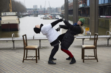 Artist Rita Marcarlo dances with a stranger