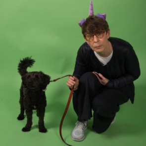 Lois Keidan with Bonzo the dog