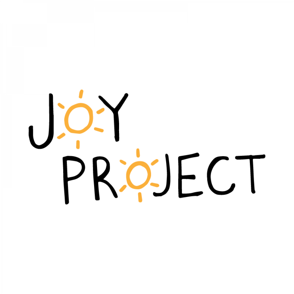 the words 'Joy Project' on a white background. The 'O's are orange suns.