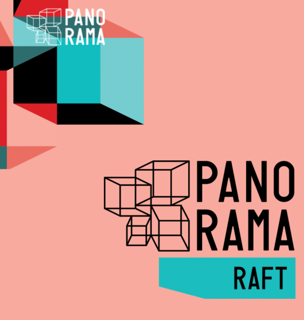 Pink square image with graphic cubes and the festival name
